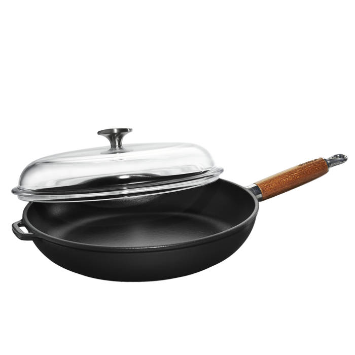 Frypan with wood handle and glass lid