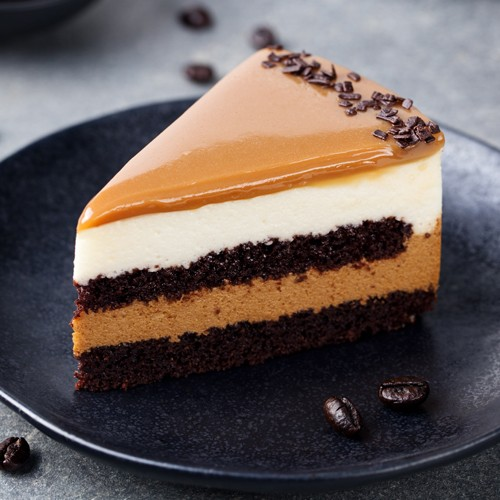 Three chocolate entremets with a caramel glaze