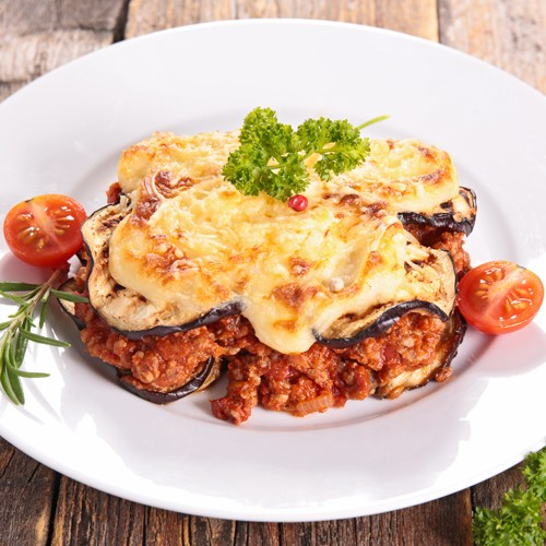 Moussaka with brousse and rosemary